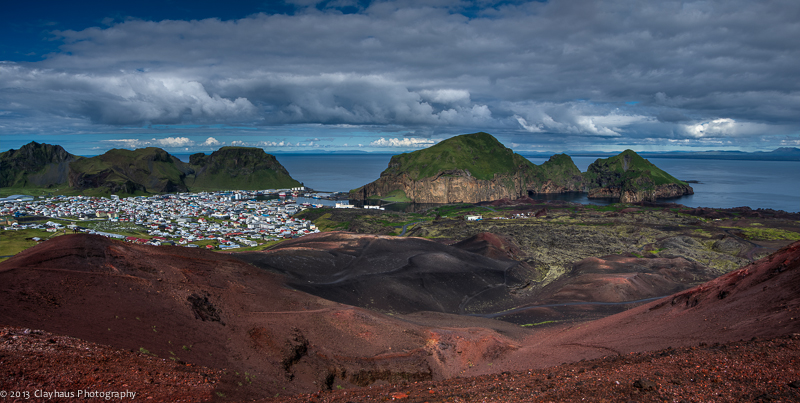 Iceland | Vestmannaeyjar, Heimaey, Town and Harbour from Eldfell
