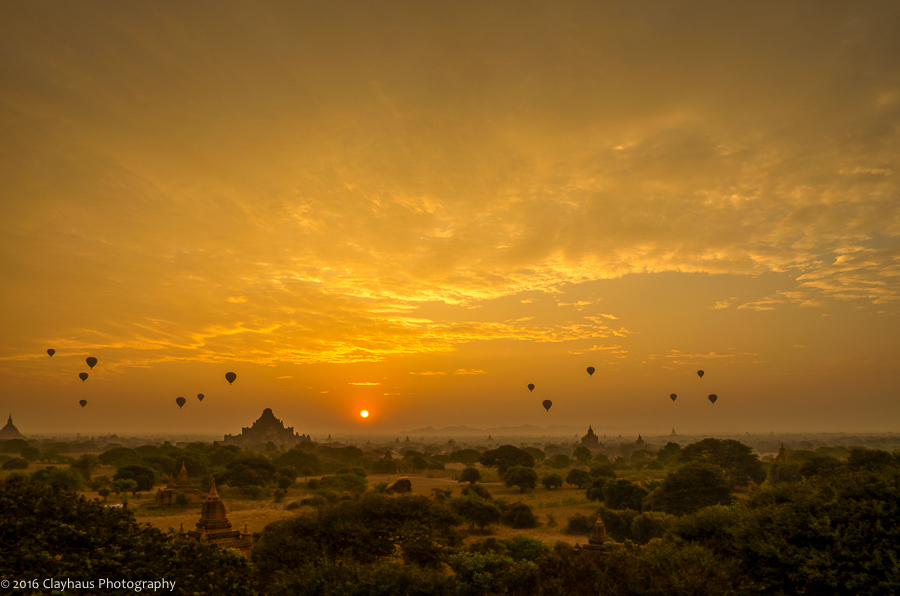 Balloons Aloft over the Plains of Bagan